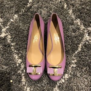 Salvatore Ferragamo purple wedge heels shoes